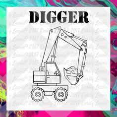 Digger SVG - Truck SVG - truck svg file - die-cuts…