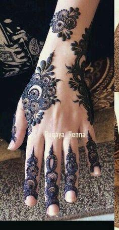 Simple and classy Henna mehndi design - bad ash loving the finger detail Unique Henna, Unique Mehndi Designs, Beautiful Henna Designs, Mehendi Simple, Beautiful Mehndi, Tattoo Henna, Henna Tattoo Designs, Henna Mehndi, Arabic Henna