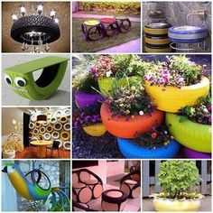 Ideas of how to reuse and recycle old tires and get your very own DIY Recycled Tire Garden. Found on Goods Home Design Tyres Recycle, Reuse Recycle, Recycled Tires, Recycled Crafts, Diy Crafts, Tire Craft, Tire Furniture, Recycled Furniture, Furniture Design