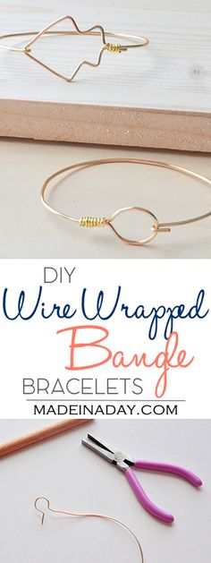 DIY Wire Wrapped Bangle Bracelets,Easy stackable wire bangles, arrow bracelet, circle wire bangle, wrapped wire bracelets, gift idea, jewelry,…