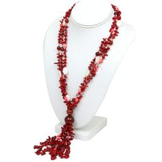 """27"""" Red Coral and Agate Beads Necklace With Toggle Clasp Gem Stone King http://www.amazon.com/dp/B007BQCQYO/ref=cm_sw_r_pi_dp_zCP3tb1ANYF1QBFB"""