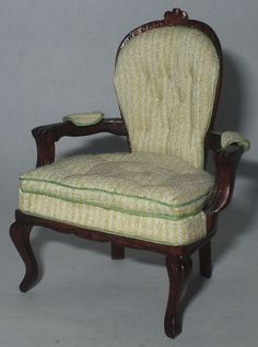 Chair Uphostered in Cream Silk by David Booth - $195.00 : Swan House Miniatures, Artisan Miniatures for Dollhouses and Roomboxes