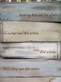 Annie Sloan Chalk Paint colors: Duck Egg Blue, Old White, Versailles, Paris Grey by Kat Vonachen