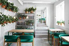 restaurant design in oslo, restaurant design sweden, cool restaurant design , masquespacio, white green design, spanigh restaurant design, ikat decor, green chairs, green chairs restaurant