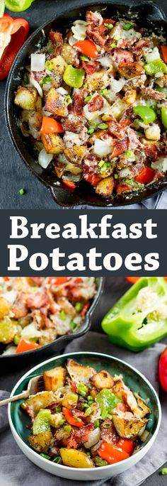One Skillet BREAKFAST POTATOES with bell peppers, crispy bacon and melted cheese – the perfect weekend breakfast!