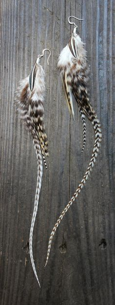 Handmade Feather Earrings - Black & White Striped Grizzly Rooster Feathers w/ Antique Silver Findings via Etsy.