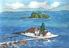 Titel: Corfu This is an archival quality print from my original pen and watercolor painting. Printed on high quality archival matte paper (192