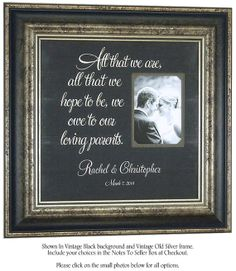 Wedding Gifts Parents Bride Groom ALL THAT WE ARE by PhotoFrameOriginals