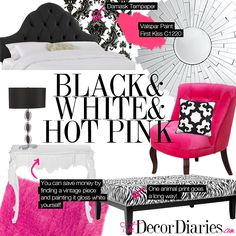 Gorgeous bedroom makeover.  Black and white and hot pink room at The Decor Diaries By Scarlett Lillian