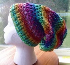 Colorful Psychedelic Hand Crocheted Slouch Hat by Poulsbohemian, $65.00