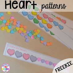 Candy Heart Pattern FREEBIE plus all my favorite Valentine's Day themed writing math fine motor sensory literacy and science activities for preschool and kindergarten. Valentines Day Activities, Holiday Activities, Preschool Activities, Motor Activities, Therapy Activities, Summer Activities, Valentinstag Party, Valentine Theme, Valentine Day Crafts