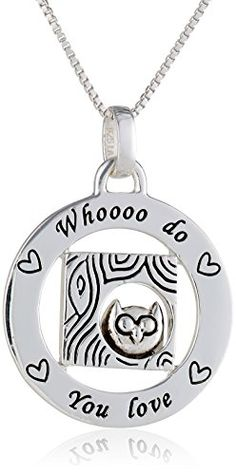 Sterling Silver Circle Whooooo Do You love with Owl Pendant Necklace 18 -- Click image to review more details.