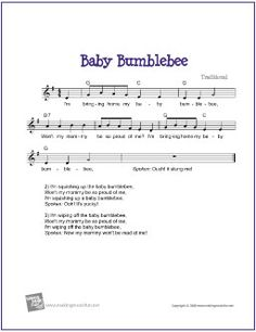 Baby Bumblebee | Free Sheet Music for Guitar (Lead Sheet) - http://www.makingmusicfun.net/htm/f_printit_free_printable_sheet_music/baby_bumblebee_leadsheet.htm
