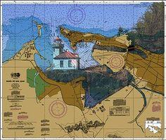 Old San Juan Lighthouse Nautical Chart printed on sailcloth for home décor wall art print. Unique Textile Printing http://www.amazon.com/dp/B00SJGBYPW/ref=cm_sw_r_pi_dp_EM0.ub0BYPCV7