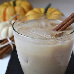 Pumpkin Pie White Russian Recipe Beverages with flavored vodka, kahlúa, pumpkin pie spice, whole milk, cinnamon sticks