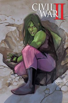 "bear1na: ""Civil War II #1 variant cover - She-Hulk by Phil Noto * """