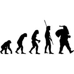 Weihnachtsmann Evolution - Die Evolution des Weihnachtsmannes, vom Affen �ber einen Neandertaler aus der Urzeit is hin zum Geschenkebringer zu Weihnachten.