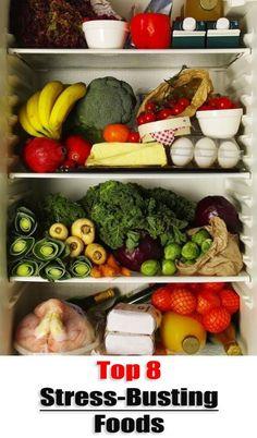Top 8 Stress-Busting Foods: Oatmeal, oranges, turkey, salmon, avocado, broccoli, almonds, & blueberries.