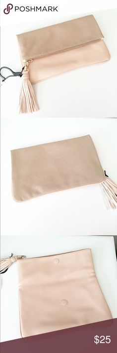 Blush Suede Clutch NWT Brand new! 12 inches wide 7 inch height! Faux suede and faux soft leather! NO trades don't ask: listed on merc for less and free shipping! **boutique brand, nor listed brand** Zara Bags Clutches & Wristlets