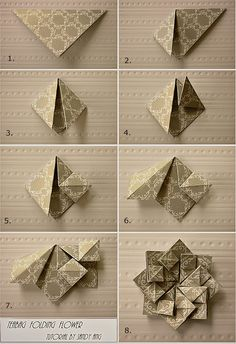 Origami Flower - Tutorial http://angsandy.blogspot.com/2012/08/teabag-folding-flowers.html