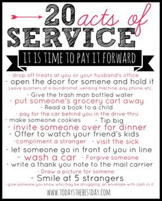 Pay It Forward – SERVICE CHALLENGE | 20 Acts of Service Ideas