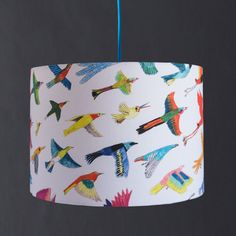 Birds lampshade, with illustrations of the children's picture book The Grey Go-Away Bird. Colourful and bold illustrated exotic birds.