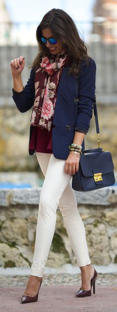 Burgundy Multi Floral Scarf blue blazer white trousers heels. clothing fashion closet ideas @roressclothes style apparel outfit Spring