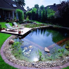 Winkel 156 / by Haacke Haus➤ On the ___ Fertighaus.de ___ website you will find… - Plant ideas - Winkel 156 / by Haacke Haus on the ___ Fertighaus.de ___ Website finds Winkel 156 / from Ha - Swimming Pools Backyard, Ponds Backyard, Swimming Pool Designs, Backyard Landscaping, Outdoor Ponds, Lap Pools, Indoor Pools, Pool Decks, Natural Swimming Ponds