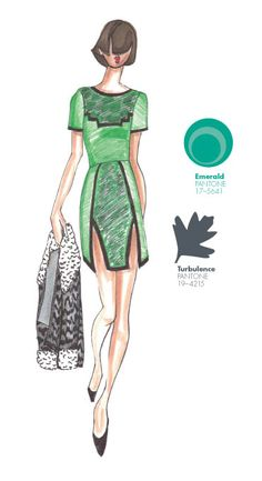 SAUNDER by Emily Saunder - PANTONE Color Emerald - Pantone Fashion Color Report, Fall 2013