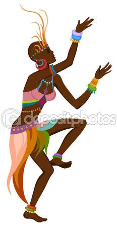 Mujer africana bailando danza ritual — Vector de stock #89558962                                                                                                                                                                                 Más