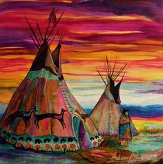 Choose your favorite tipi paintings from millions of available designs. All tipi paintings ship within 48 hours and include a money-back guarantee. Native American Teepee, Native American Decor, Native American Paintings, American Indian Art, Native American Indians, Native Americans, American Women, American History, Arte Equina