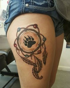30 Stunningly Dreamcatcher Tattoo on Thigh