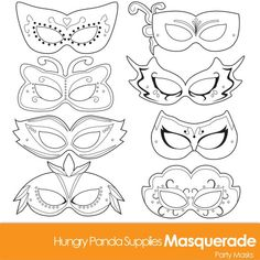 Masquerade Masks masquerade mask printable by HappilyAfterDesigns - BASTELLLL - Welcome Home Decor Masquerade Mask Template, White Masquerade Mask, Mardi Gras Mask Template, Masquerade Costumes, Masquerade Party, Printable Masks, Printables, Printable Halloween Masks, Free Printable