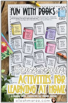 Need some ideas for learning at home with your kids? Click the pin to read these 5 fun, engaging spring ideas for preschool, kindergarten, and first grade learners! 4th Grade Activities, Spring Activities, Learning Activities, Reading Day, First Grade Reading, Reading Help, Kids Reading, Learn To Read Kindergarten, In Kindergarten