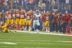 NFL Dallas Cowboys #17 Dwayne Harris turning the game around with a dazzling 86-yard punt return and touchdown.