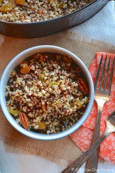 Tri-Color Quinoa with Golden Raisins & Pecans ciaochowbambina.com