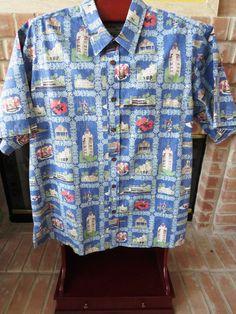 0b69bcf56eb Size XL - Hawaiian Aloha Shirt Bishop Street - Blue Reverse Print Landmarks  EUC Hawaiian Wear