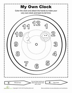 Combine fun and education with this worksheet that allows your first grader to color and create his own clock.