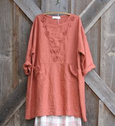 linen tunic/dress in orange rust A-line. via Etsy.i love this color style and details. Mama crow