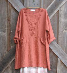 linen tunic/dress in orange rust A-line. $139.00, via Etsy.
