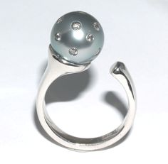 Ring of Fire pearl ring  18ct white gold ring and 11-12mm black South Sea pearl encrusted with 0.28ct brilliant cut white diamonds