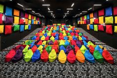 Colorful Beanbags Have Replaced Seats In This Cinema