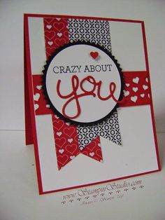 Stampin Studio, Stampin Up! Occasions Catalog Crazy About You, Hello You Thinlits, Stacked with Love DSP, Confetti Heart Border Valentine Love Cards, Valentines, Valentine Ideas, Cool Cards, Diy Cards, Creative Cards, Anniversary Cards, Scrapbook Cards, Homemade Cards
