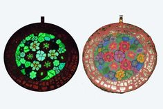 Glow in the Dark Pendant Millefiore Garden Wearable by EyeGloArts, $75.00