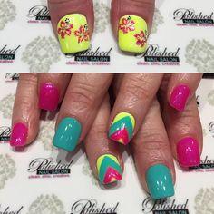 """We love these bright bold neon gel colors! Perfect #summerNails idea.  #nailswag #nailart #naildesign #instanails #nailsokc #okcnails #yukonsbest #okcBest #okc #nails #bestnailsalon #nailsalon #nailaddict #getpolished #bestManiPedi #BestFacial #polishednailsok #getPamperedAtPolished #NewNails #naillove #notd #nailsoftheday #weekendNails #flowerNails #chevronNails"" Photo taken by @polishednailsok on Instagram, pinned via the InstaPin iOS App! http://www.instapinapp.com (07/18/2015)"