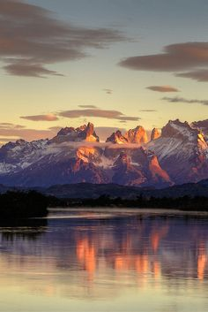 Sunrise at Rio Serrano, Torres del Paine National Park, Patagonia Chile - by Aleksandra Motrenko. - One of the most amazing sunrise over these mountains I've ever seen Places Around The World, Oh The Places You'll Go, Places To Travel, Places To Visit, Around The Worlds, Parc National, National Parks, Beautiful World, Beautiful Places