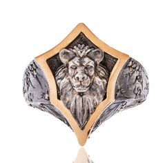 14K Rose Gold Antique Silver Diamond Mens Gothic Lion Ring  0.50ct Size 10 #Unbranded #Statement