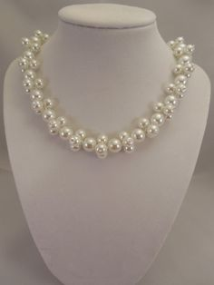 Very Lovely and Elegant, White Glass Pearl Necklace with White Glass Pearls Decoration Faux Pearl Necklace, Pearl Choker, Strand Necklace, Pearl Decorations, Very Lovely, How To Make Beads, Girl Gifts, Beautiful Necklaces, Silver Color