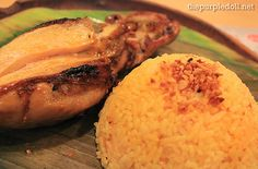 Chicken inasal and garlic rice from Bacolod Chicken Inasal~ Bacolod, Filipino Recipes, Pinoy, Garlic, Rice, Yummy Food, Dishes, Chicken, Eat