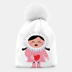 Little happy eskimo girl holding heart via Vector Stock Image Arctic Circle, Unique Image, Colouring Pages, Love Heart, Drawings, Creative, Artist, Hobonichi, Pattern
